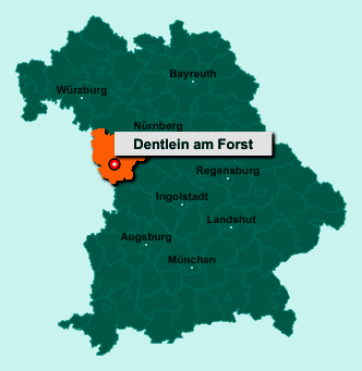 Die Karte von Dentlein am Forst zeigt die Lage im Landkreis Ansbach - Der Ort 91599 Dentlein am Forst liegt im Bundesland Bayern