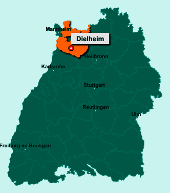 Der Lageplan von 69234 Dielheim zeigt die Position im Rhein-Neckar-Kreis - Der Ort liegt im Bundesland Baden-Württemberg