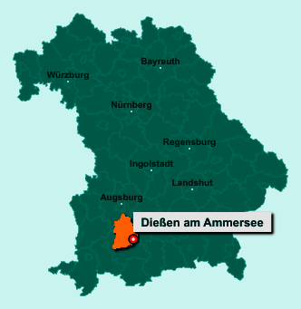 Der Lageplan von 86911 Dießen am Ammersee zeigt die Position im Landkreis Landsberg am Lech - Der Ort liegt im Bundesland Bayern
