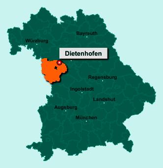 Die Karte von Dietenhofen zeigt die Lage im Landkreis Ansbach - Der Ort 90599 Dietenhofen liegt im Bundesland Bayern