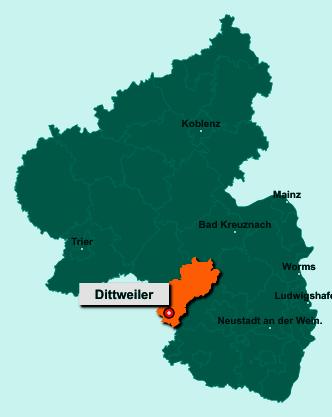 Der Lageplan von 66903 Dittweiler zeigt die Position im Landkreis Kusel - Der Ort liegt im Bundesland Rheinland-Pfalz