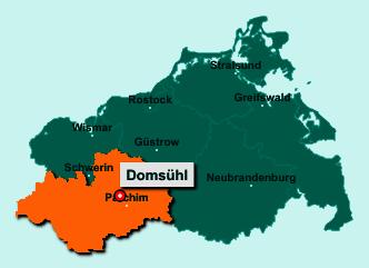Die Karte von Domsühl zeigt die Lage im Landkreis Ludwigslust-Parchim - Der Ort 19374 Domsühl liegt im Bundesland Mecklenburg-Vorpommern