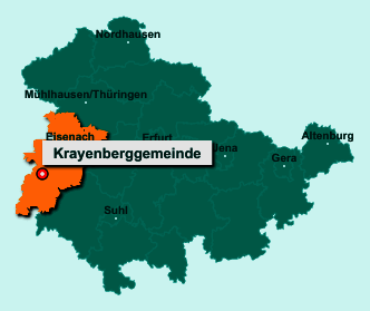 Der Lageplan von 36460 Krayenberggemeinde zeigt die Position im Wartburgkreis - Der Ort liegt im Bundesland Thüringen