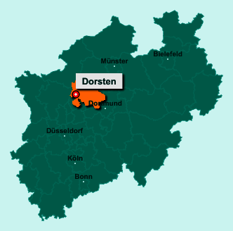 Der Lageplan von Dorsten zeigt die Position im Kreis Recklinghausen - Der Ort liegt im Bundesland Nordrhein-Westfalen