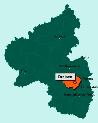 Der Lageplan von 67816 Dreisen zeigt die Position im Donnersbergkreis - Der Ort liegt im Bundesland Rheinland-Pfalz