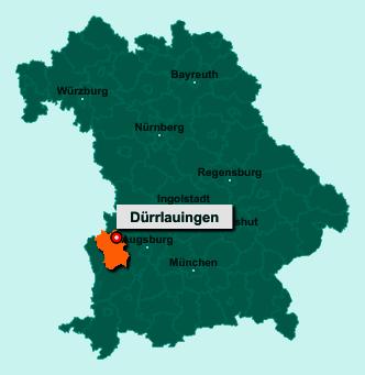 Die Karte von Dürrlauingen zeigt die Lage im Landkreis Günzburg - Der Ort 89350 Dürrlauingen liegt im Bundesland Bayern