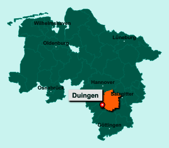 Die Karte von Duingen zeigt die Lage im Landkreis Hildesheim - Der Ort 31089 Duingen liegt im Bundesland Niedersachsen