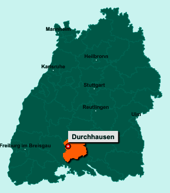 Der Lageplan von 78591 Durchhausen zeigt die Position im Landkreis Tuttlingen - Der Ort liegt im Bundesland Baden-Württemberg