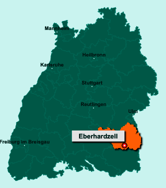 Die Karte von Eberhardzell zeigt die Lage im Landkreis Biberach - Der Ort 88436 Eberhardzell liegt im Bundesland Baden-Württemberg