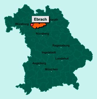 Die Karte von Ebrach zeigt die Lage im Landkreis Bamberg - Der Ort 96157 Ebrach liegt im Bundesland Bayern