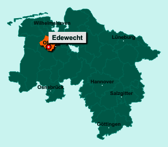 Der Lageplan von 26188 Edewecht zeigt die Position im Landkreis Ammerland - Der Ort liegt im Bundesland Niedersachsen
