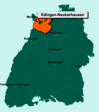 Die Karte von Edingen-Neckarhausen zeigt die Lage im Rhein-Neckar-Kreis - Der Ort 68535 Edingen-Neckarhausen liegt im Bundesland Baden-Württemberg
