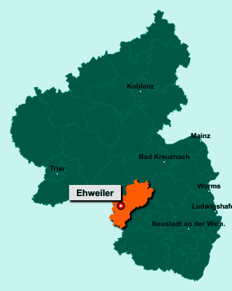 Der Lageplan von 66871 Ehweiler zeigt die Position im Landkreis Kusel - Der Ort liegt im Bundesland Rheinland-Pfalz