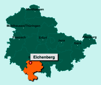 Die Karte von Eichenberg zeigt die Lage im Landkreis Hildburghausen - Der Ort 98553 Eichenberg liegt im Bundesland Thüringen