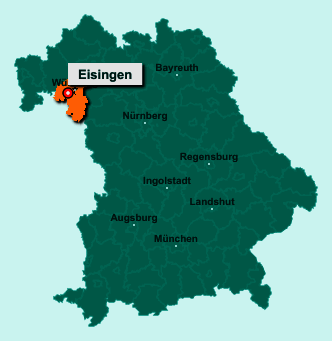 Der Lageplan von 97249 Eisingen zeigt die Position im Landkreis Würzburg - Der Ort liegt im Bundesland Bayern