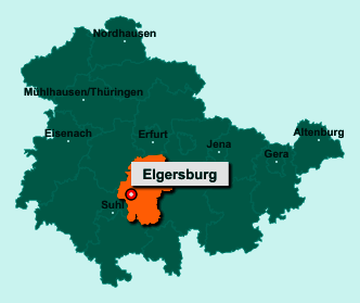 Der Lageplan von 98716 Elgersburg zeigt die Position im Ilm-Kreis - Der Ort liegt im Bundesland Thüringen