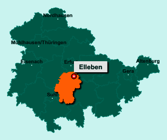 Die Karte von Elleben zeigt die Lage im Ilm-Kreis - Der Ort 99334 Elleben liegt im Bundesland Thüringen