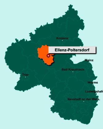 Der Lageplan von 56821 Ellenz-Poltersdorf zeigt die Position im Landkreis Cochem-Zell - Der Ort liegt im Bundesland Rheinland-Pfalz