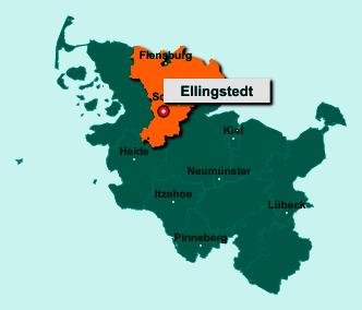 Die Karte von Ellingstedt zeigt die Lage im Kreis Schleswig-Flensburg - Der Ort 24870 Ellingstedt liegt im Bundesland Schleswig-Holstein