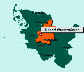 Die Karte von Elsdorf-Westermühlen zeigt die Lage im Kreis Rendsburg-Eckernförde - Der Ort 24800 Elsdorf-Westermühlen liegt im Bundesland Schleswig-Holstein