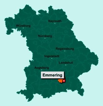 Der Lageplan von 83550 Emmering zeigt die Position im Landkreis Ebersberg - Der Ort liegt im Bundesland Bayern