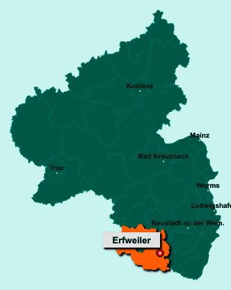 Die Karte von Erfweiler zeigt die Lage im Landkreis Südwestpfalz - Der Ort 66996 Erfweiler liegt im Bundesland Rheinland-Pfalz