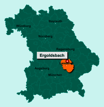Der Lageplan von 84061 Ergoldsbach zeigt die Position im Landkreis Landshut - Der Ort liegt im Bundesland Bayern