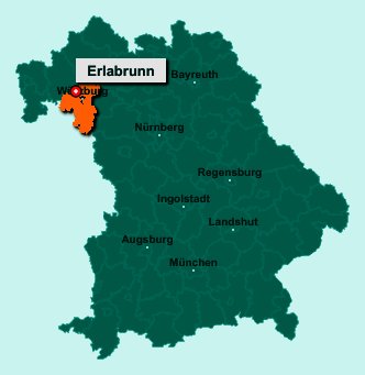 Der Lageplan von 97250 Erlabrunn zeigt die Position im Landkreis Würzburg - Der Ort liegt im Bundesland Bayern