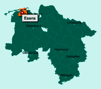 Der Lageplan von 26427 Esens zeigt die Position im Landkreis Wittmund - Der Ort liegt im Bundesland Niedersachsen