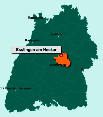 Der Lageplan von Esslingen am Neckar zeigt die Position im Landkreis Esslingen - Der Ort liegt im Bundesland Baden-Württemberg