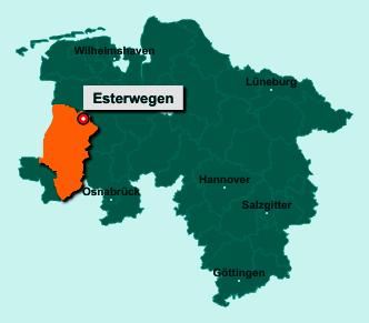 Die Karte von Esterwegen zeigt die Lage im Landkreis Emsland - Der Ort 26897 Esterwegen liegt im Bundesland Niedersachsen