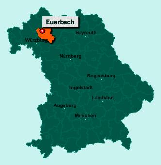 Die Karte von Euerbach zeigt die Lage im Landkreis Schweinfurt - Der Ort 97502 Euerbach liegt im Bundesland Bayern