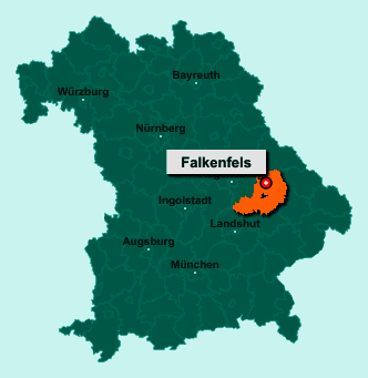 Der Lageplan von 94350 Falkenfels zeigt die Position im Landkreis Straubing-Bogen - Der Ort liegt im Bundesland Bayern