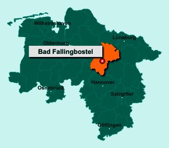 Die Karte von Bad Fallingbostel zeigt die Lage im Landkreis Heidekreis - Der Ort 29683 Bad Fallingbostel liegt im Bundesland Niedersachsen