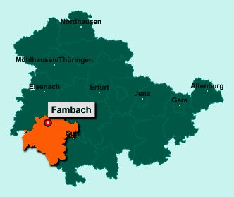 Der Lageplan von 98597 Fambach zeigt die Position im Landkreis Schmalkalden-Meiningen - Der Ort liegt im Bundesland Thüringen