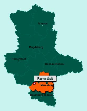 Der Lageplan von 06279 Farnstädt zeigt die Position im Saalekreis - Der Ort liegt im Bundesland Sachsen-Anhalt