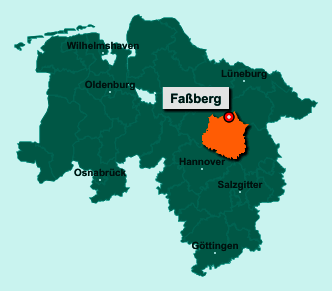 Der Lageplan von 29328 Faßberg zeigt die Position im Landkreis Celle - Der Ort liegt im Bundesland Niedersachsen