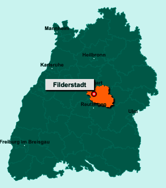 Der Lageplan von Filderstadt zeigt die Position im Landkreis Esslingen - Der Ort liegt im Bundesland Baden-Württemberg