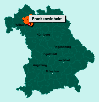 Die Karte von Frankenwinheim zeigt die Lage im Landkreis Schweinfurt - Der Ort 97447 Frankenwinheim liegt im Bundesland Bayern