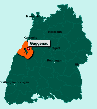 Der Lageplan von 76571 Gaggenau zeigt die Position im Landkreis Rastatt - Der Ort liegt im Bundesland Baden-Württemberg