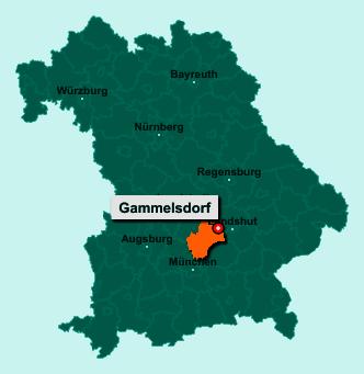 Die Karte von Gammelsdorf zeigt die Lage im Landkreis Freising - Der Ort 85408 Gammelsdorf liegt im Bundesland Bayern