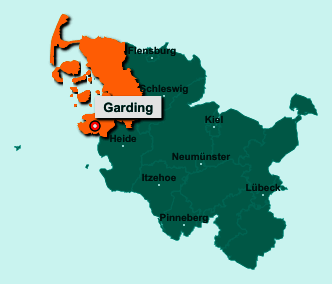 Die Karte von Garding zeigt die Lage im Kreis Nordfriesland - Der Ort 25836 Garding liegt im Bundesland Schleswig-Holstein