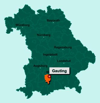 Die Karte von Gauting zeigt die Lage im Landkreis Starnberg - Der Ort 82131 Gauting liegt im Bundesland Bayern