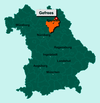 Die Karte von Gefrees zeigt die Lage im Landkreis Bayreuth - Der Ort 95482 Gefrees liegt im Bundesland Bayern