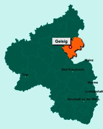 Die Karte von Geisig zeigt die Lage im Rhein-Lahn-Kreis - Der Ort 56357 Geisig liegt im Bundesland Rheinland-Pfalz