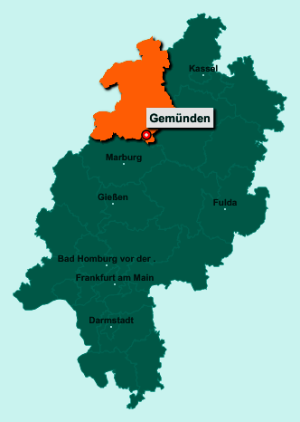 Die Karte von Gemünden zeigt die Lage im Landkreis Waldeck-Frankenberg - Der Ort 35285 Gemünden liegt im Bundesland Hessen