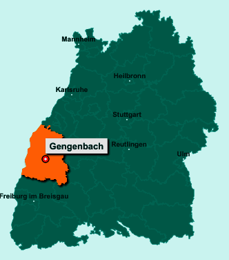 Die Karte von Gengenbach zeigt die Lage im Ortenaukreis - Der Ort 77723 Gengenbach liegt im Bundesland Baden-Württemberg