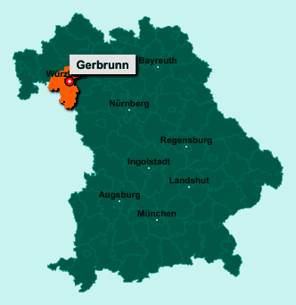 Die Karte von Gerbrunn zeigt die Lage im Landkreis Würzburg - Der Ort 97218 Gerbrunn liegt im Bundesland Bayern
