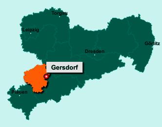 Die Karte von Gersdorf zeigt die Lage im Landkreis Zwickau - Der Ort 09355 Gersdorf liegt im Bundesland Sachsen