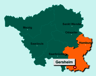 Die Karte von Gersheim zeigt die Lage im Saarpfalz-Kreis - Der Ort 66453 Gersheim liegt im Bundesland Saarland